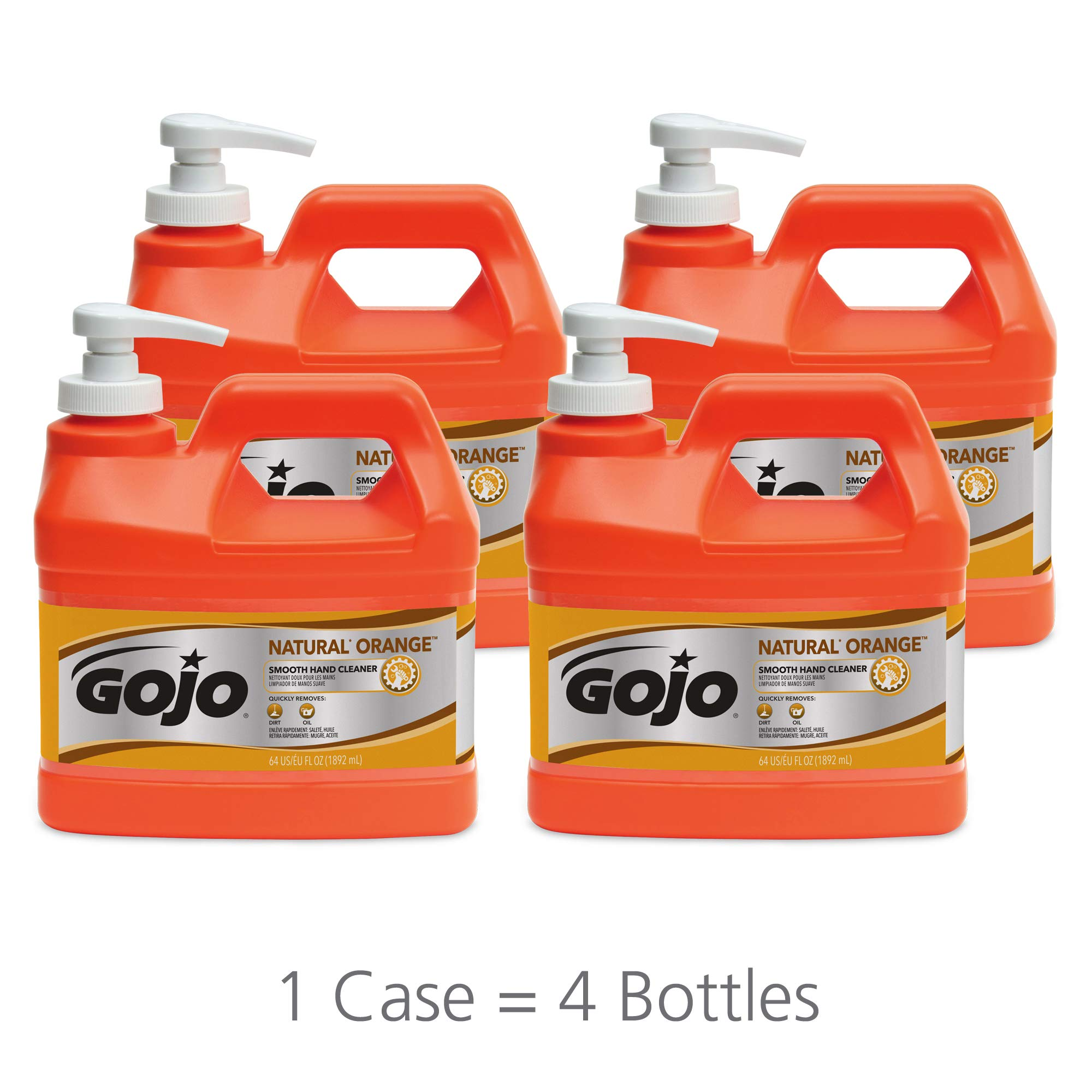 GOJO 0948-04 Natural Orange Smooth Hand Cleaner, 1/2 Gallon Pump Bottle (Pack of 4)