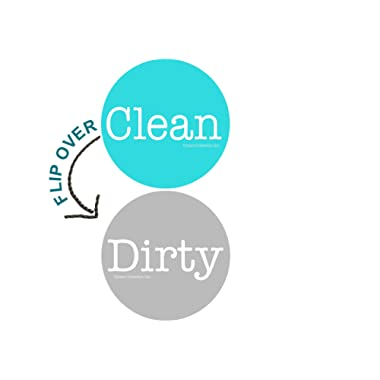 2  Double Sided Round Dishwasher Flip CLEAN & DIRTY Premium Dishwasher Magnet. MADE in USA (Aqua & Gray)