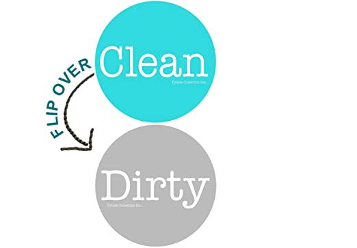 "Review 2"" Double Sided Round Dishwasher Flip CLEAN & DIRTY Premium 50 mil Dishwasher Magnet. MADE in USA (Aqua & Gray)"