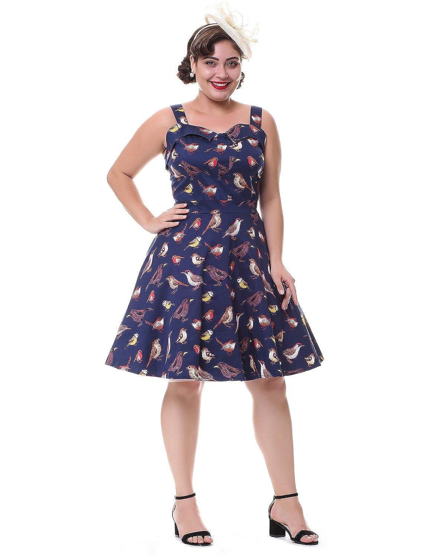 ZAFUL Mujer Vestido Vintage años 50 sin Mangas Cuello Redondo ...