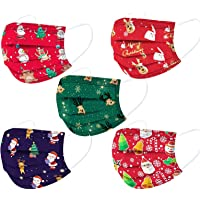 Christmas Disposable Face_Masks for Kids, 50 Pack 3-Ply Breathable Face_Mask Holiday Party Facemask for Chrilds