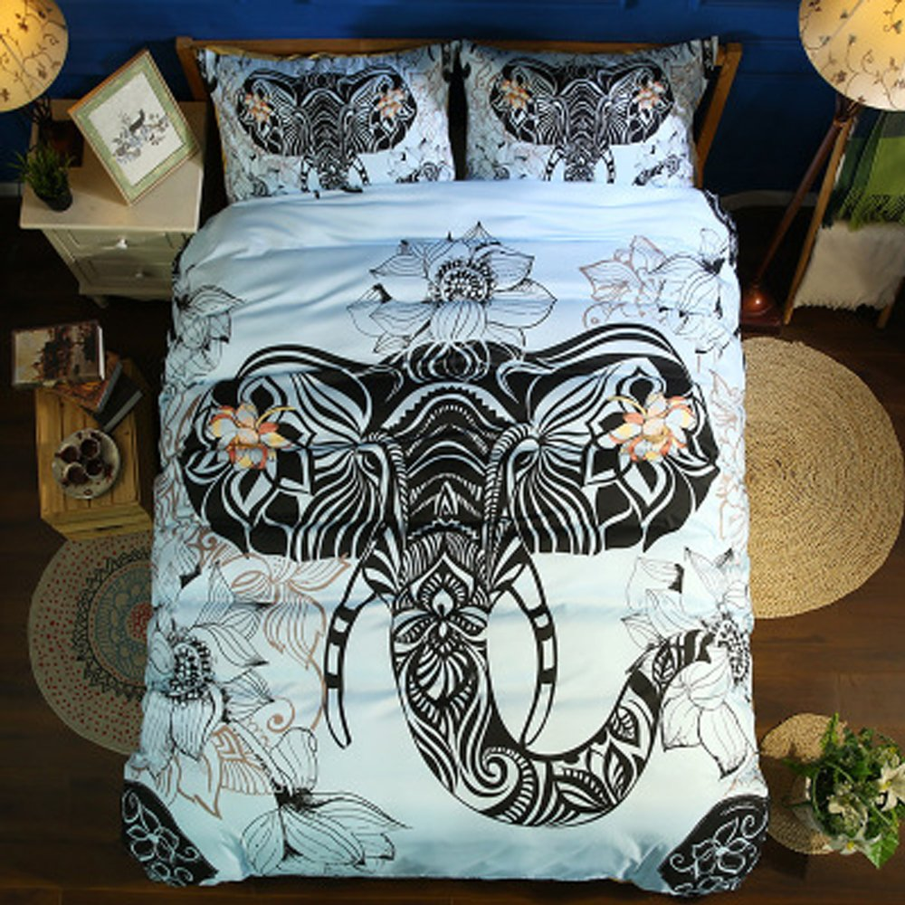 Koongso 3 Pcs Boho Backpack Elephant Print Duvet Cover Set 1pc Duvet Cover with 2 Pillow Shams Reversible Microfiber Elephant Design Bedding Collections