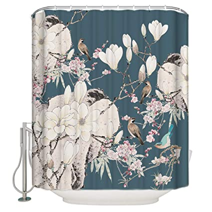 Customize Shower Curtain Chinese Style Flower And Bird Waterproof Polyester Fabric Bathroom Decor 72x78inch
