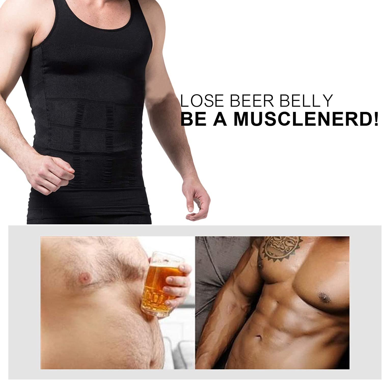 FeelinGirl Mens Slimming Body Shaper Vest Shirt Abs Abdomen Slim