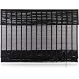 """Keego Custom Bamboo Roman Shade with Valance, Black, 22"""" W x 72"""" H, Simple Weave Sun Shade for Interiors Privacy"""