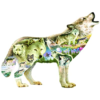 Meadow Wolf Shaped 750 pc Jigsaw Puzzle by SunsOut: Toys & Games