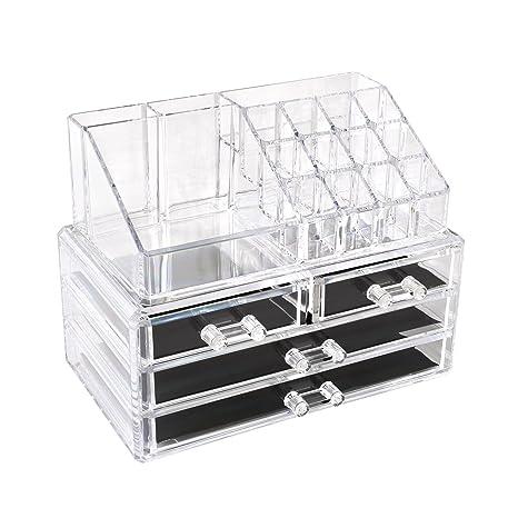 78ac13ea3 HOMFA Caja acrílica Estante de maquillajes Maquillaje Cosméticos Joyería  Organizador color transparente (4 Cajones+ 16