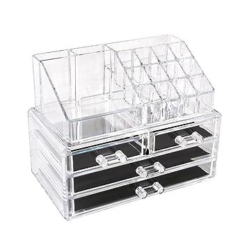 homfa bandeja de maquillaje joyas caja de almacenaje organizador para cosmética de acrílico transparente con cajones, Type-3: Amazon.es: Hogar
