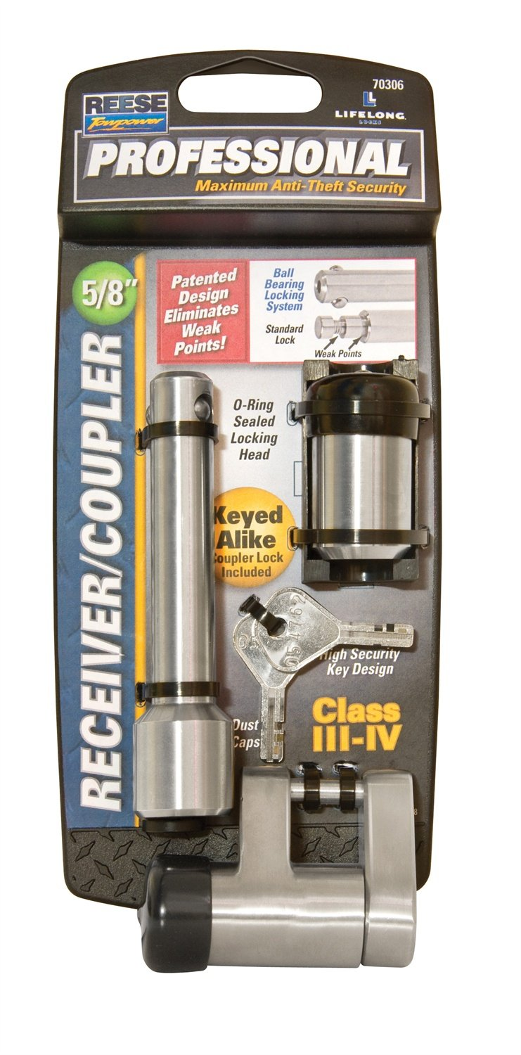 Reese Towpower 7030600 Professional 5//8 Chrome Receiver Lock and Coupler Lock