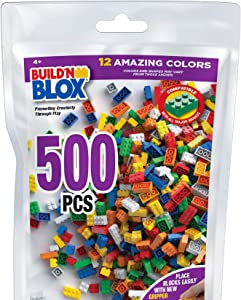 Build 'N Blox Building Bricks - Regular Colors - 500 Pieces Classic Bricks - Compatible with all Major Brands