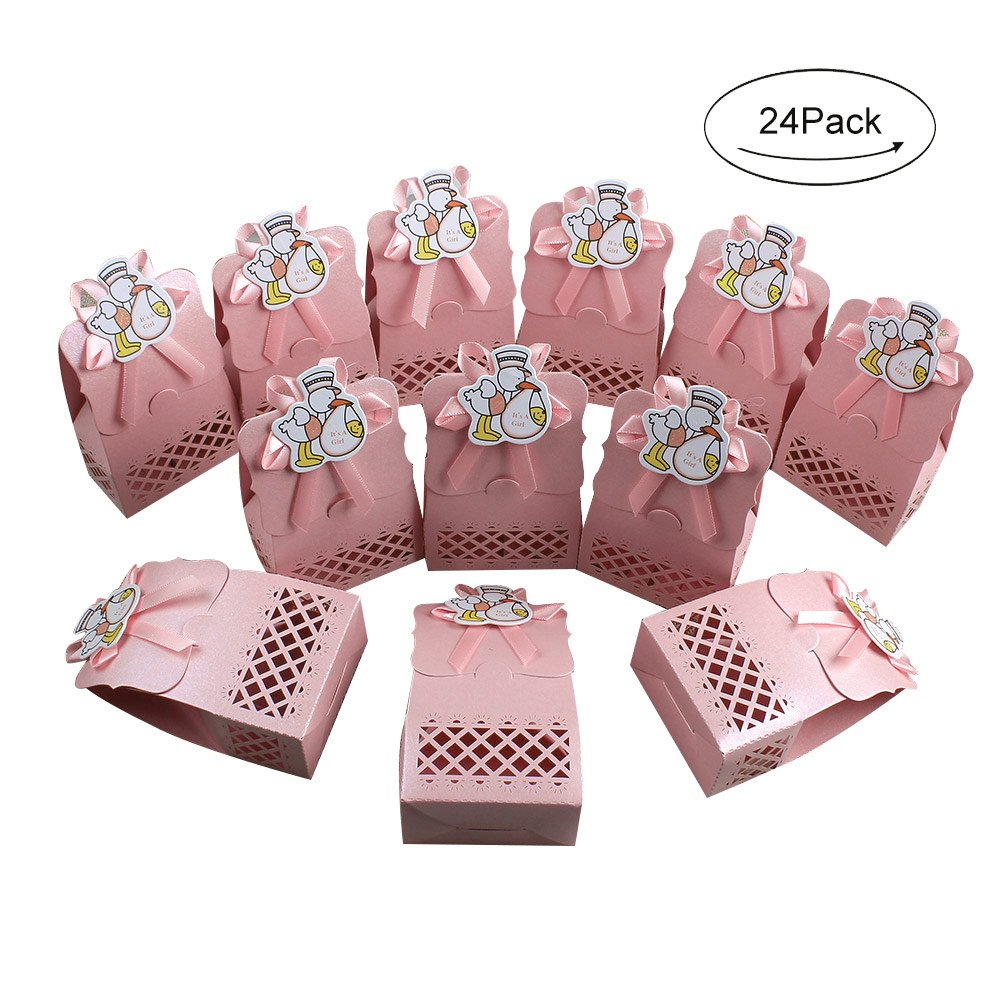 Floratek 50 PCS Baby Shower Favors Cute Honey Bee Design Chocolate Packaging Box Candy Box Gift Box for Kids Birthday Baby Shower Guests Wedding Party Supplies