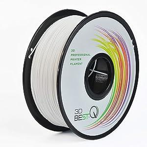3D BEST-Q PLA 1.75mm White 3D Printer Filament, Dimensional Accuracy +/- 0.03 mm, 1KG Spool, White
