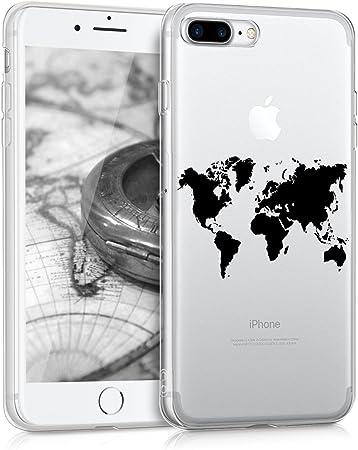 Kwmobile Hülle Kompatibel Mit Apple Iphone 7 Plus 8 Plus Handyhülle Handy Case Travel Umriss Schwarz Transparent Elektronik
