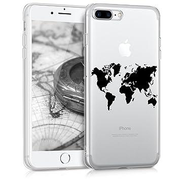kwmobile Funda compatible con Apple iPhone 7 Plus / 8 Plus - Carcasa de [TPU] y diseño de mapa del mundo en [negro / transparente]