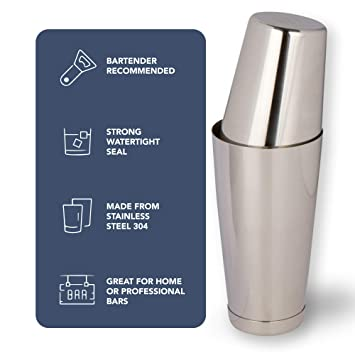 Premium Cocktail Shaker Set: Two-Piece Pro Boston Shaker Set. Unweighted 18oz & Weighted 28oz Martini Drink Shaker made from Stainless Steel 304