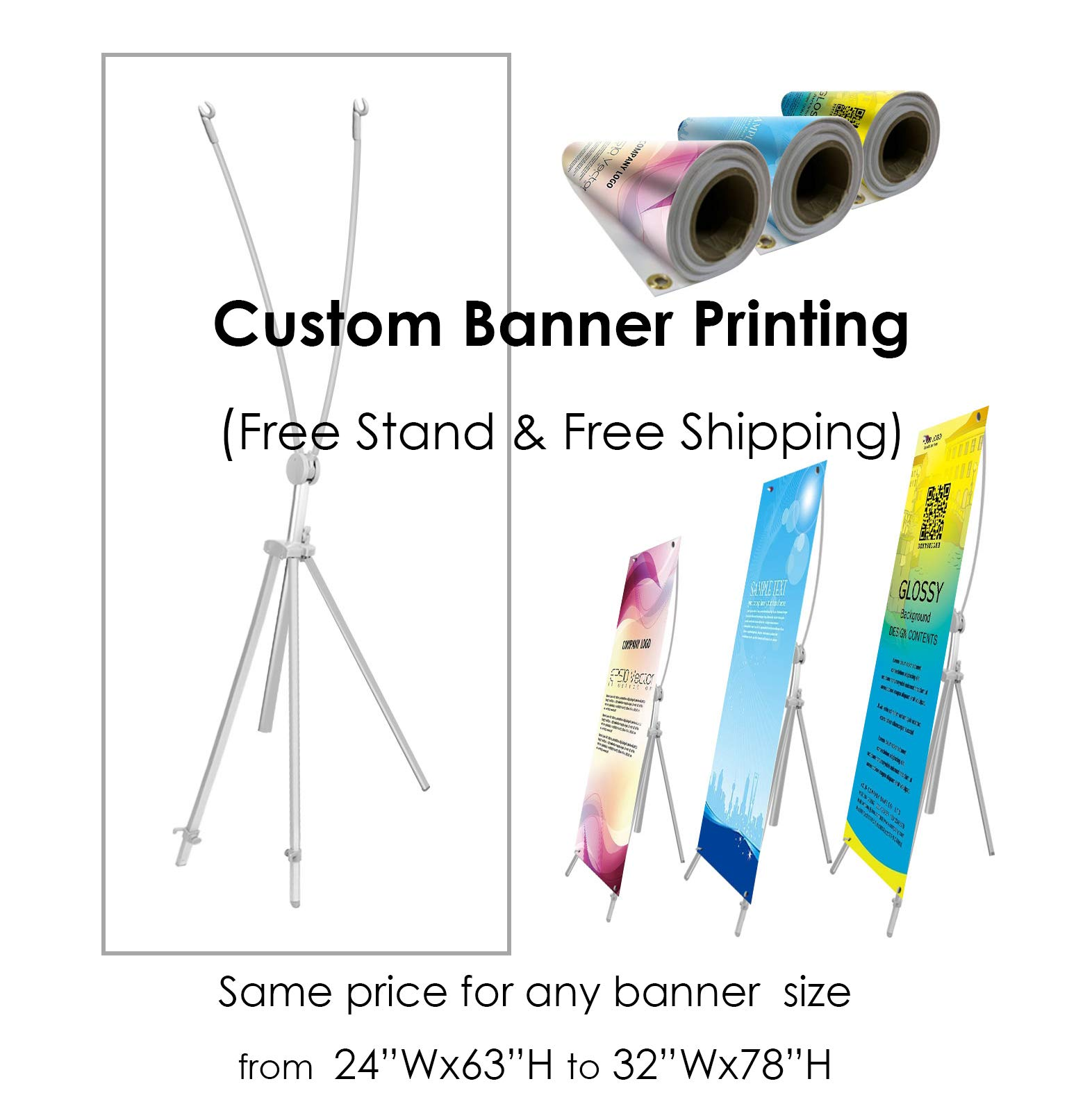 TheDisplayDeal Adjustable Aluminum Banner Stand with Custom Banner Any Size from 24''X 63'' to 32''X78'' (Stand+Banner)