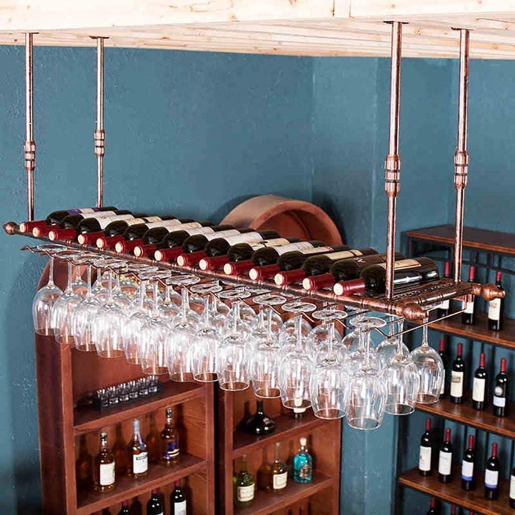 ワインラック ハンギング赤ワインカップホルダー ハンギング逆ガラスホルダー クリエイティブメインロッド ワインラックハンギングガラスホルダー(サイズ:120 x 30 cm)、120 * 30cm