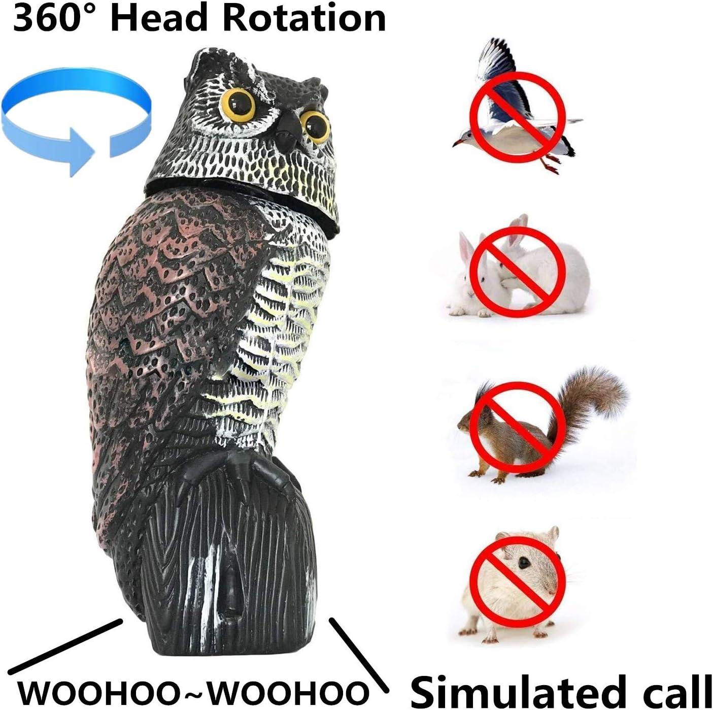 Spaventapasseri Spaventa Uccelli con Suono Spaventoso,Scaccia Piccioni Spaventapasseri Dissuasori con Occhi Riflettenti per Allontanare Gli Uccelli,41 cm