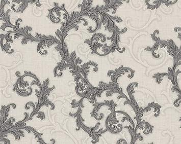 Versace Designer Damask Gray Off White Wallpaper Swirl