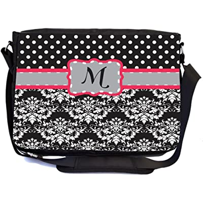 """Rikki Knight Letter """"M"""" Grey Pink Black Damask Dots Design Multifunctional Messenger Bag - School Bag - Laptop Bag - with padded insert for School or Work - Includes Matching Compact Mirror hot sale 2017"""