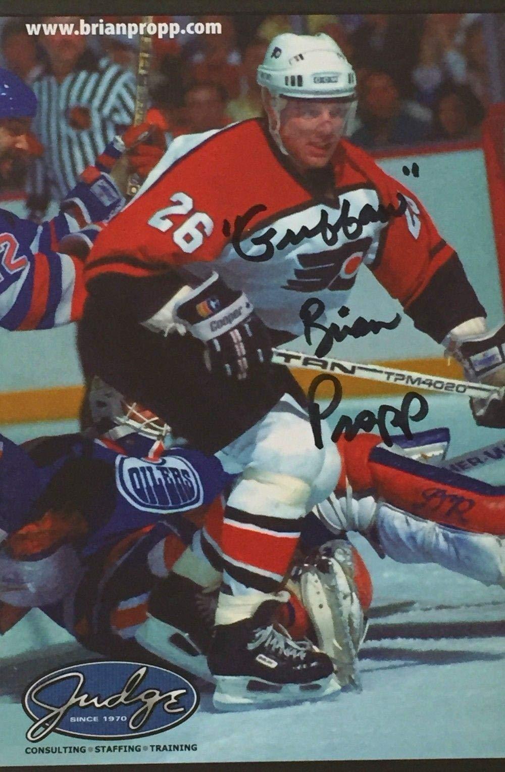 Brian Propp Signed 4x6 Philadelphia Flyers Postcard SI NHL Cut Signatures