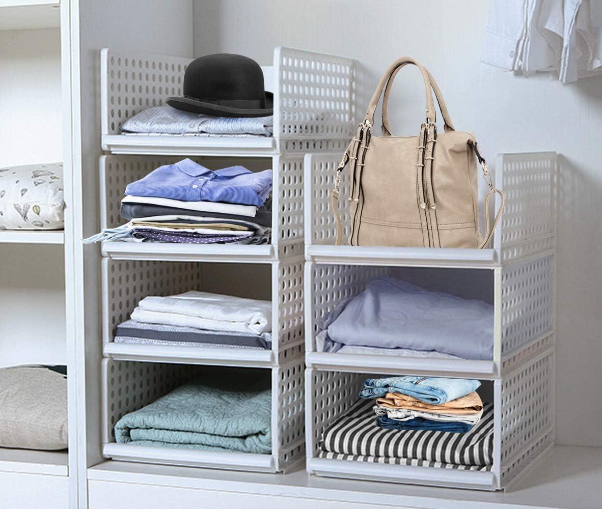 Hoseejoy Estantes de plástico desmontables apilables con cajones,cestas, cajas divisorias para ropa,tocadores,armario y dormitorio 34cm x 44cm x 18cm Blanco: Amazon.es: Hogar