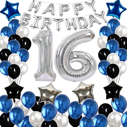 Decoración De Cumpleaños De 16 Años Suministros De Decoración Para Fiestas De Cumpleaños Con Pancarta De Feliz Cumpleaños Globos De Cumpleaños Decorativos Perfecto Para Niñas Y Niños Color Azul Plateado Y
