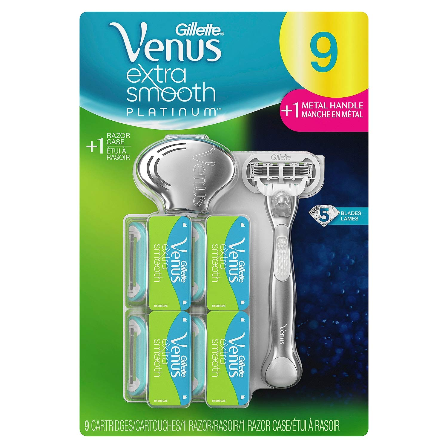 Venus Extra Smooth Platinum Razor, Handle + 9 Blade Refills + Razor Case AS