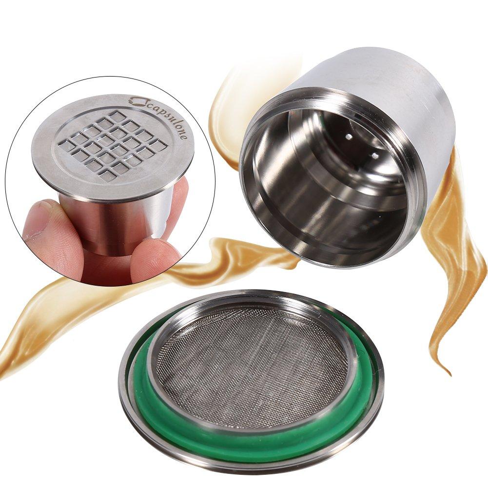 Superficie del hilo c/ápsulas de caf/é reutilizables compatibles con la m/áquina Nespresso C/ápsulas recargables de acero inoxidable
