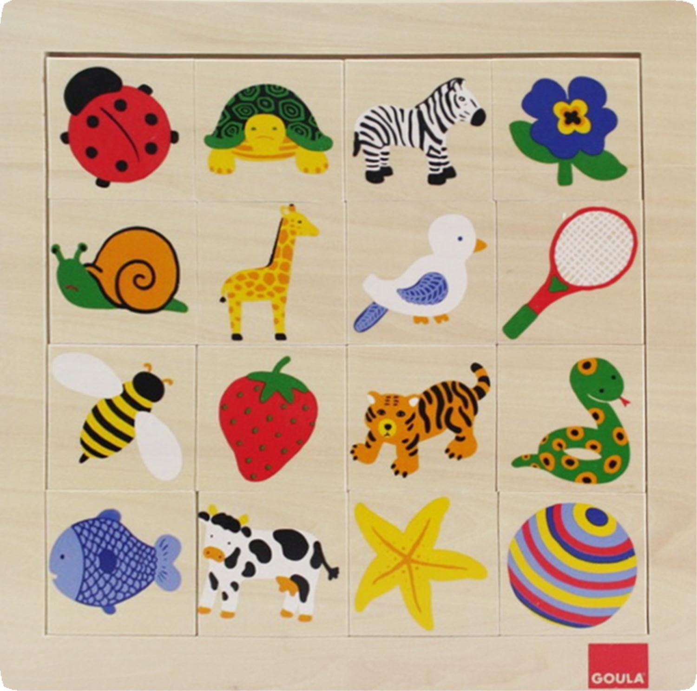 Goula - Puzzle tramas, 16 piezas de madera y tela (Diset 53019): Amazon.es: Juguetes y juegos