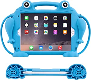 CHIN FAI New iPad 2020 8th/ 7th Gen 2019 10.2 inch Case for Kids [Eye Popping Frog] Shockproof Silicone Handle Stand Protective Cover for iPad Air 3 / iPad Pro 10.5 Inch with Pencil Holder (Blue)