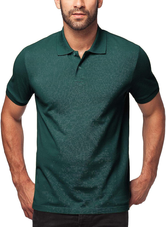 LAPASA Polo para Hombre de Manga Corta Camiseta Casual 100% Puro Algodón con Raya M19 Versión 2020