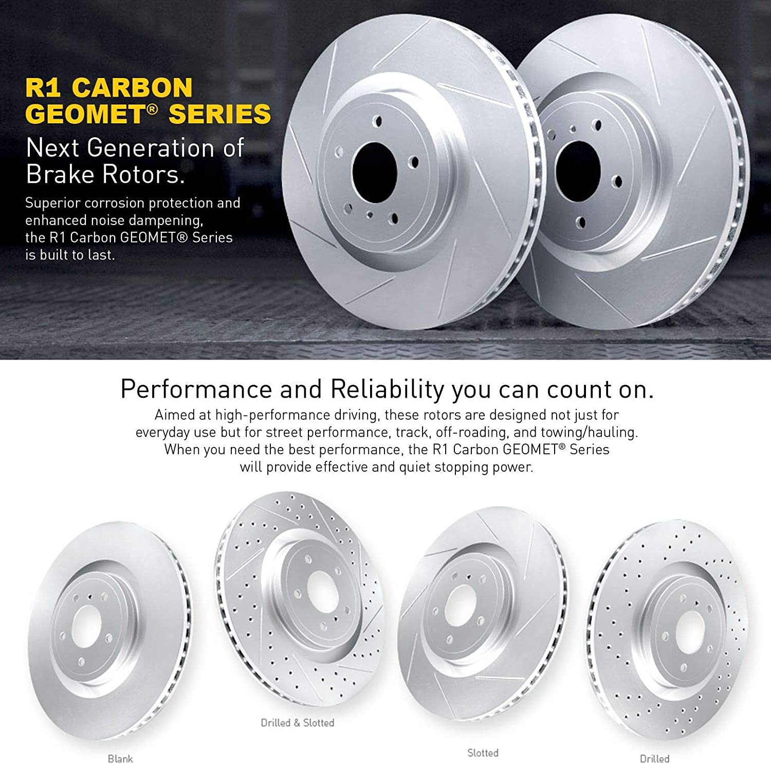 For 2014-2017 Mazda 3 Sport,CX-3 Front R1 Carbon Geomet Slotted Brake Rotors+Pad