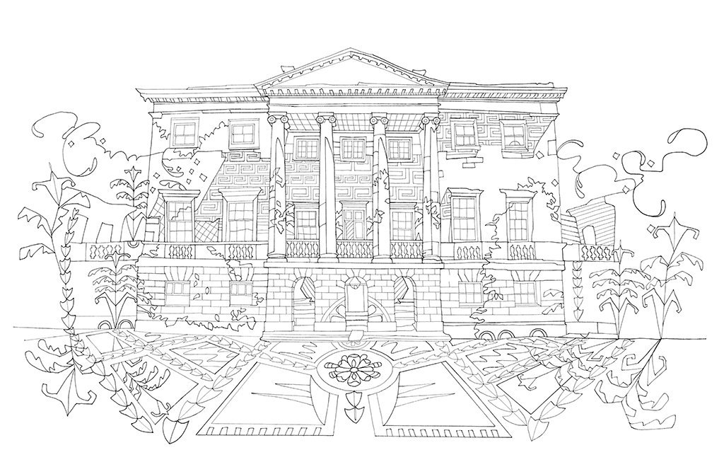 The Country House Colouring Book Books National Trust Art Illustration Amazoncouk Amy Jane Adams 9781909881778