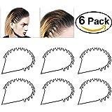 Unisex Black Spring Wave Metal Hoop Hair Band Girl Men's Head Band Accessory, 6 Pack