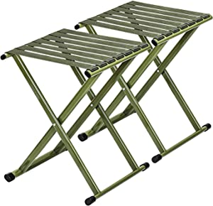 Super Strong Portable Folding Stool, Heavy Duty Outdoor Folding Chair Hold Up to 500 LBS 2 Pack, 11.8 x 10.8 x 14.3 inch (L x W x H) Medium Size