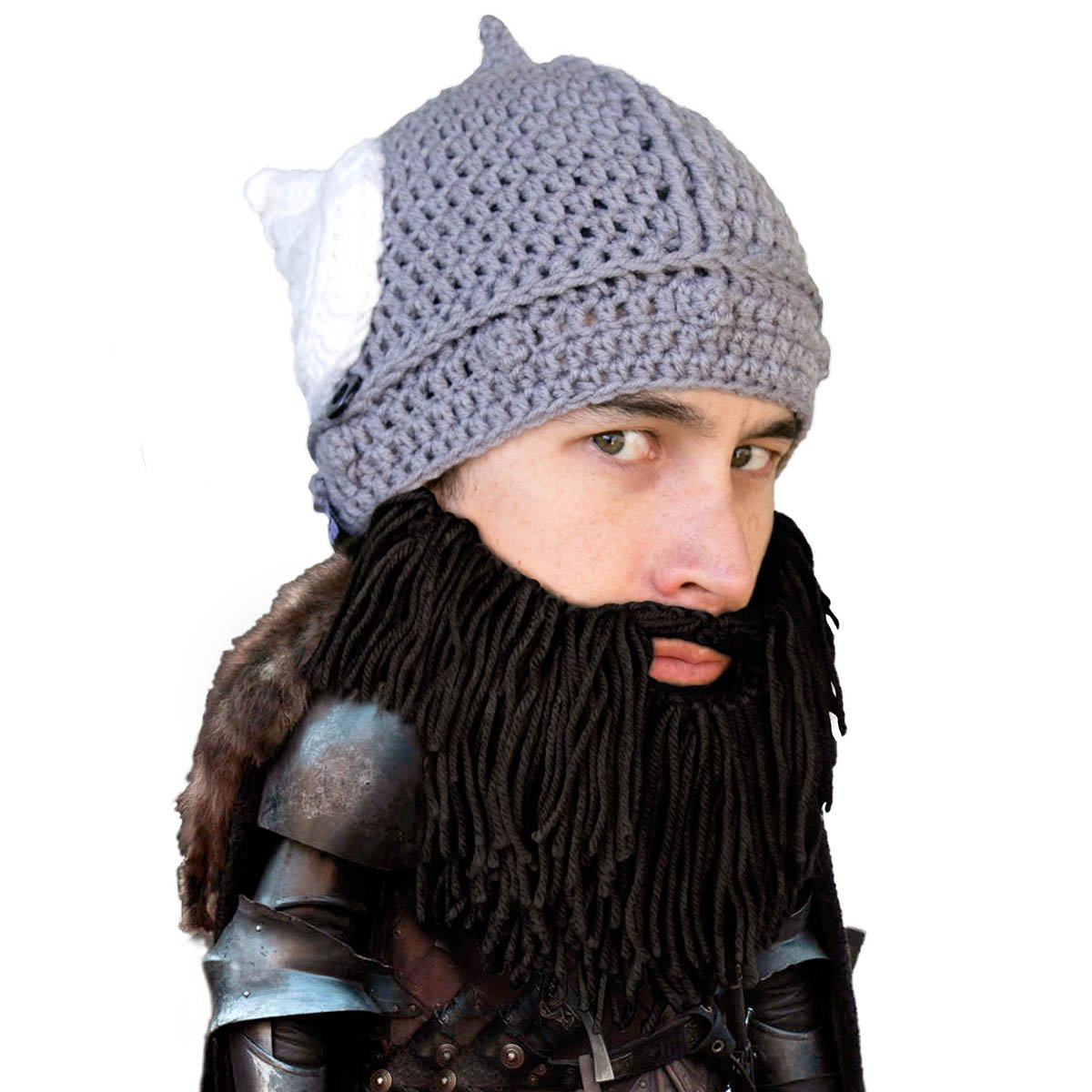 Amazon.com  Beard Head - The Original Barbarian Thor Knit Beard Hat  (Black)  Clothing a585715b477