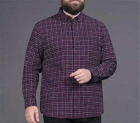 NINEONE Camisa de Manga Larga a Cuadros para Hombre Camisa Gorda Solapa Camisa de Fondo Suelto de Gran tamaño Sudadera Casual 2XL-8XL 3XL: Amazon.es: Hogar