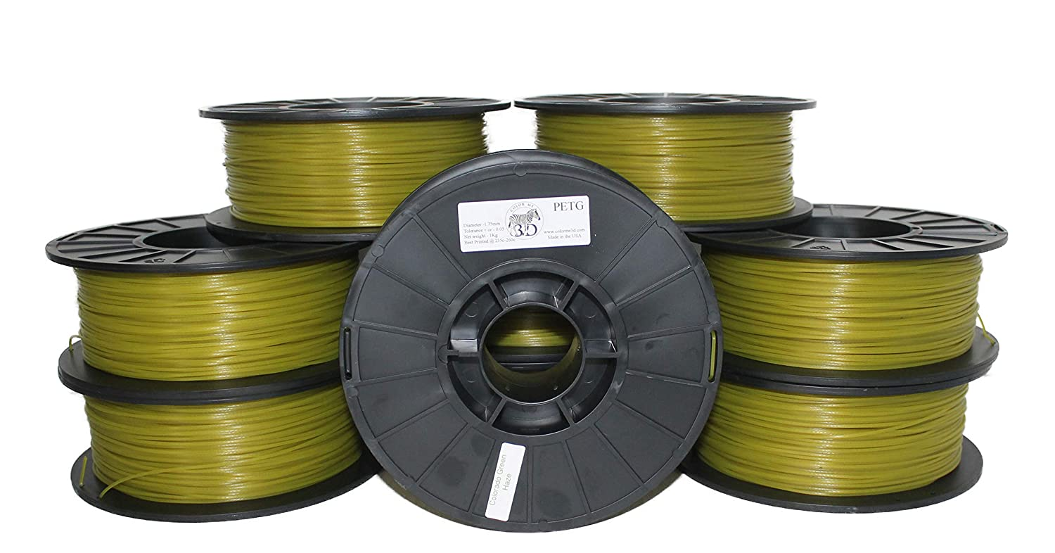 0.05 mm Accuracy-Colorado Green Haze PETG COLORME3D Quality 3D Printer Filament Colorado Green Haze PETG 1.75 MM-1KG -Stunning Mile High Green Made in The USA-1.75 mm 2.2 LBS //