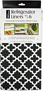 """DII Non Adhesive Cut to Fit Machine Washable Fridge Liner For Drawers, Bins, Trays, Protect Produce, Set of 6, 12 x 24"""" - Black Lattice"""