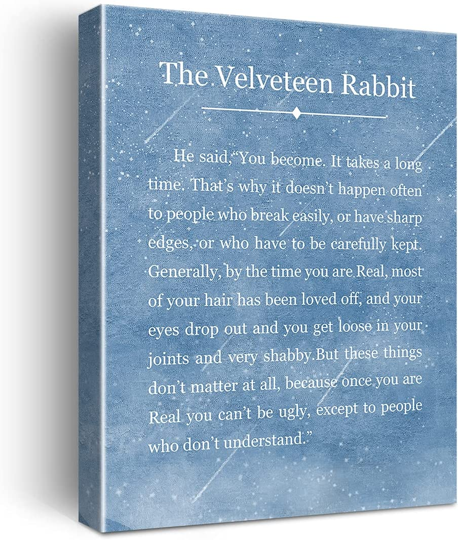 The Velveteen Rabbit Quote Poster Canvas Wall Art for Home Decor - Inspirational Canvas Print Wall Art Ready to Hang Gifts - Easel & Hanging Hook 12x15 Inch
