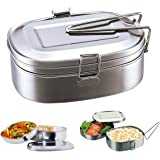 2 pcs of 2 Layer Stainless Steel Lunch Box Bento Box Food Container Portable Multifunction Dinner Accessories