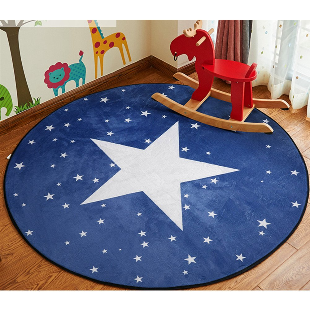 ZaH Cartoon Children Rug Bedroom Carpet Living Dining Bathroom Doormat Floor Mats Kids Room Decor Decorations for Infants Baby Toddlers, 4', Night Sky Star