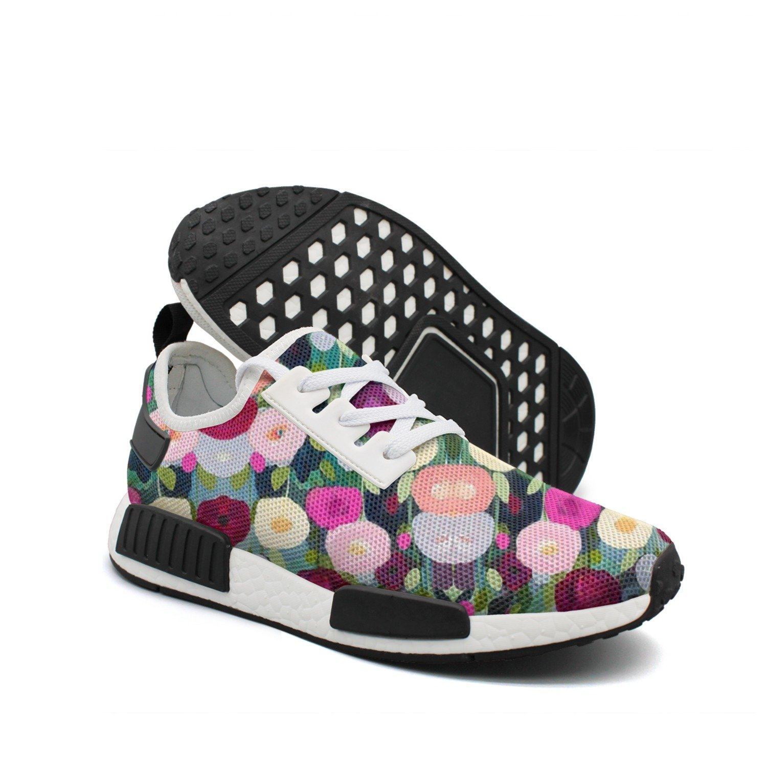 Men's Casual Fashion Sneaker Painting Watercolor Flowers Breathable Lightweight Running Shoes