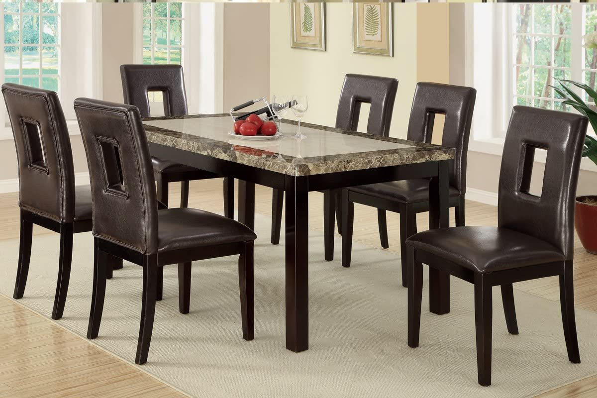 Amazon Com 7 Pieces Dining Set With Marble Look Top And Faux Leather Seats Brown Table Chair Sets
