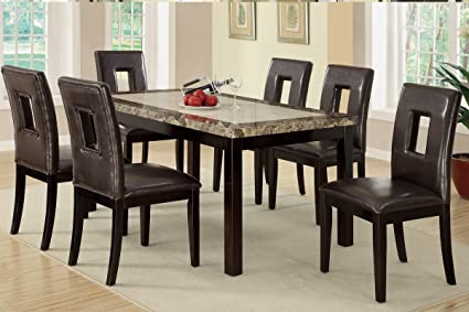 Merveilleux 7 Pieces Dining Set With Marble Look Top And Faux Leather Seats (Brown)