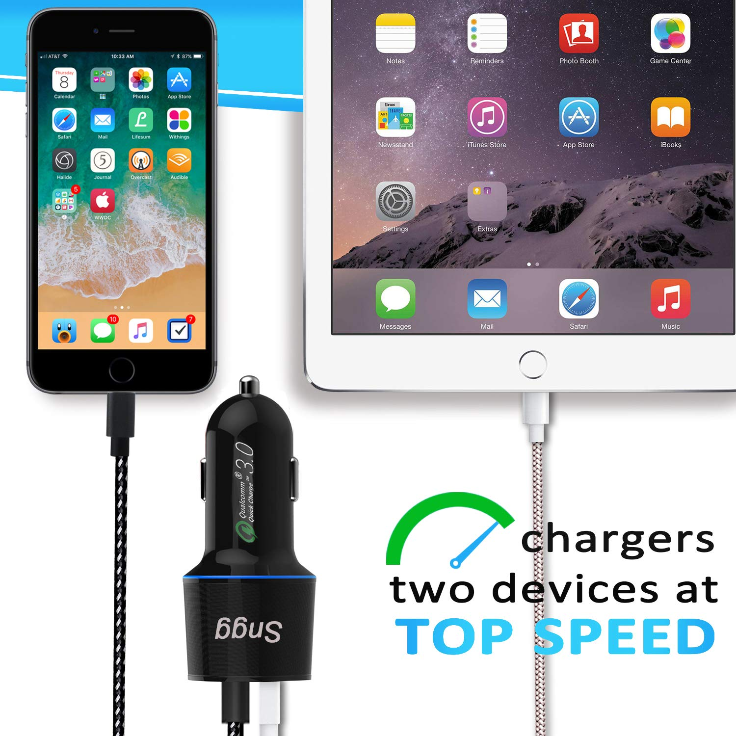 Phone Car Charger,Sngg QC3.0 Rapid USB Car Charger+5ft Phone Charging Cable Compatible iPhone X//8//8 Plus//7//6//6S Plus 5S 5 5C SE,iPad More Black iPhone Car Charger