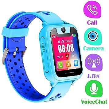 PTHTECHUS Telefono Reloj Inteligente LBS Niños - Smartwatch con Localizador LBS Juegos Despertador Camara Linterna per Niño y Niña de 3-12 Años (LBS, ...