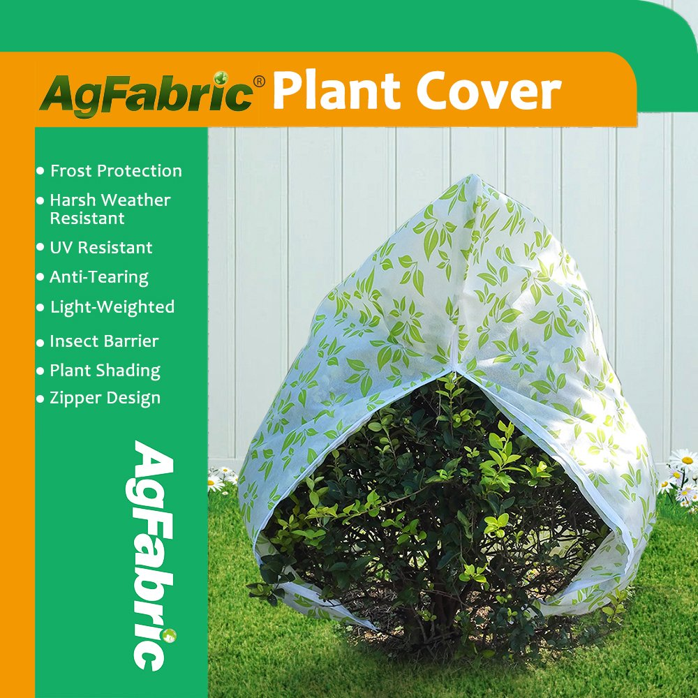 Agfabric 1.5oz Fabric of 40''x40'' Colored Plant Protecting Bag Shrub Jacket and Tree Cover with Zipper,Summer Shading, Insect Barrier