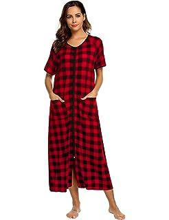 c533f25b1b Ekouaer Women Long Robes Zipper Front Full Length House Coat with Pockets  Striped Loungewear